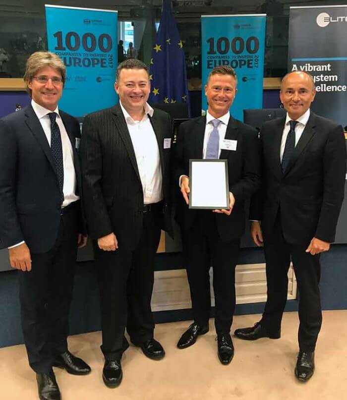 Geoff Love and Paul Gardner of Esendex receving the certificate of 1000 companies to inspire Europe