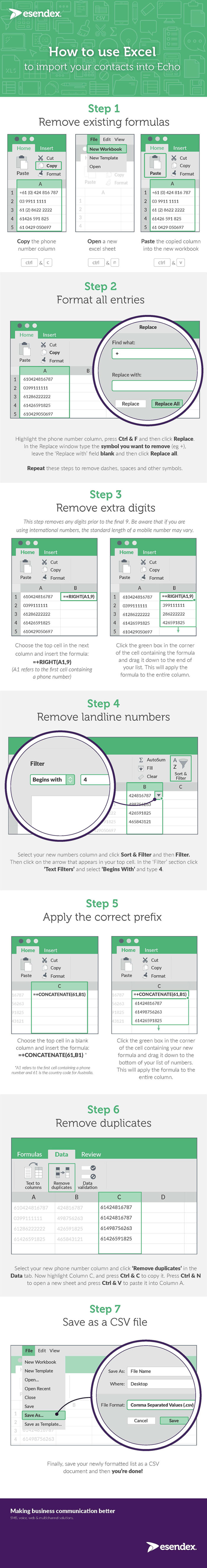 how to clean and reformat telephone numbers in excel infographic