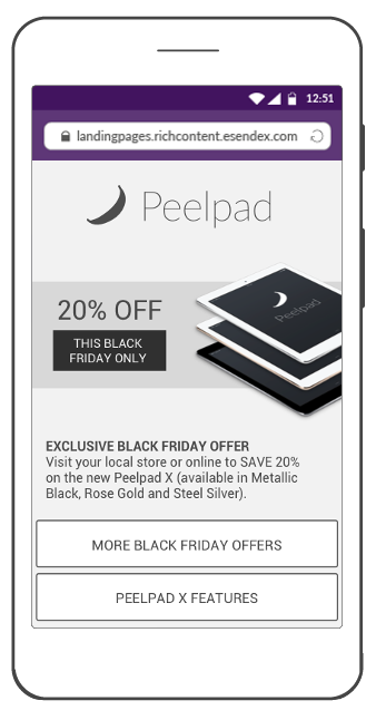 SMS Landing Page for Black Friday offer