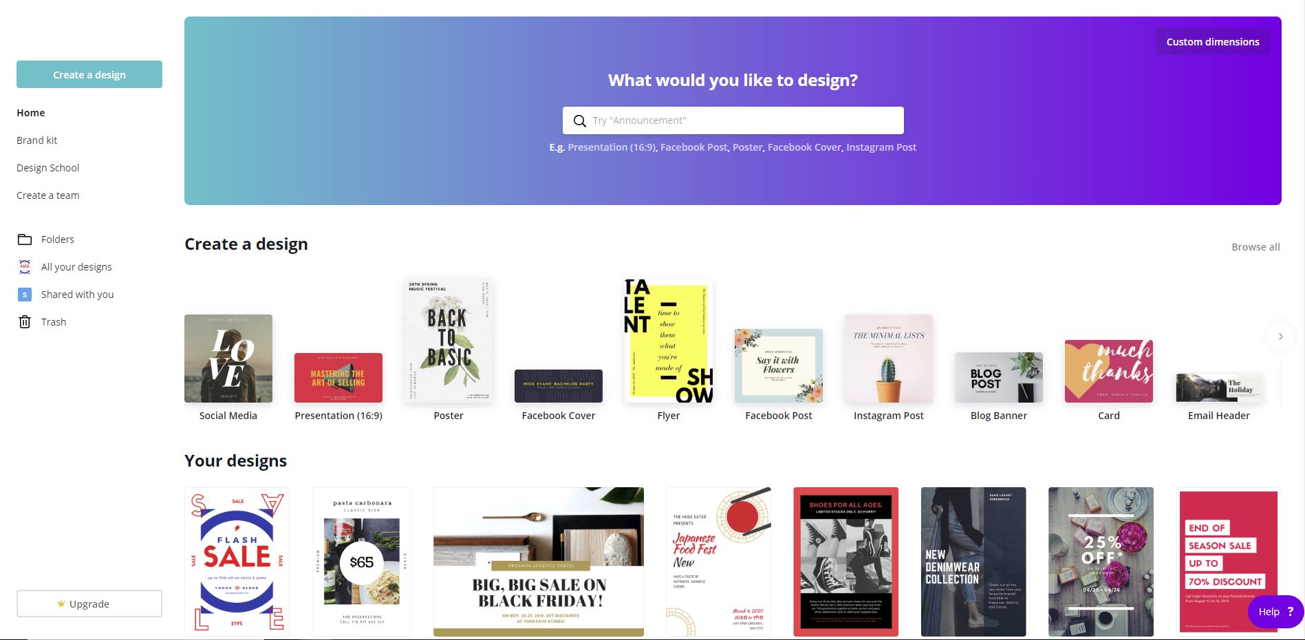 Free design tool - Canva