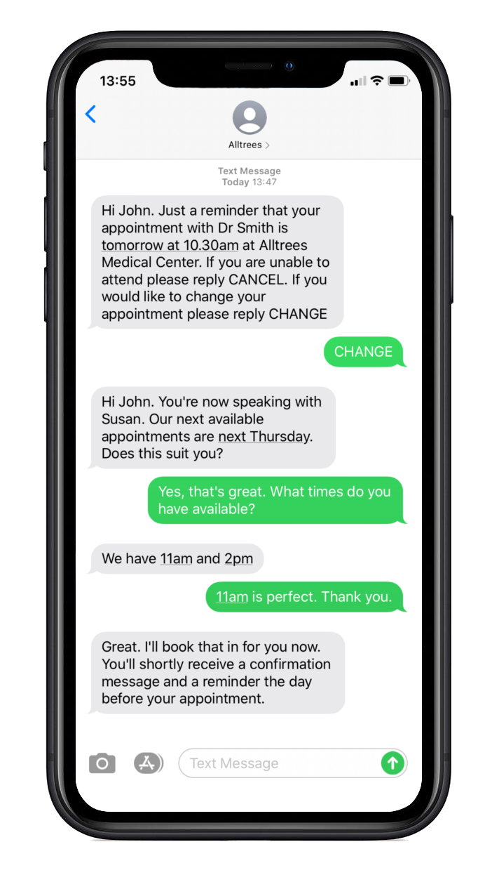 A smartphone showing conversations between a clinic and patients changing appointment time