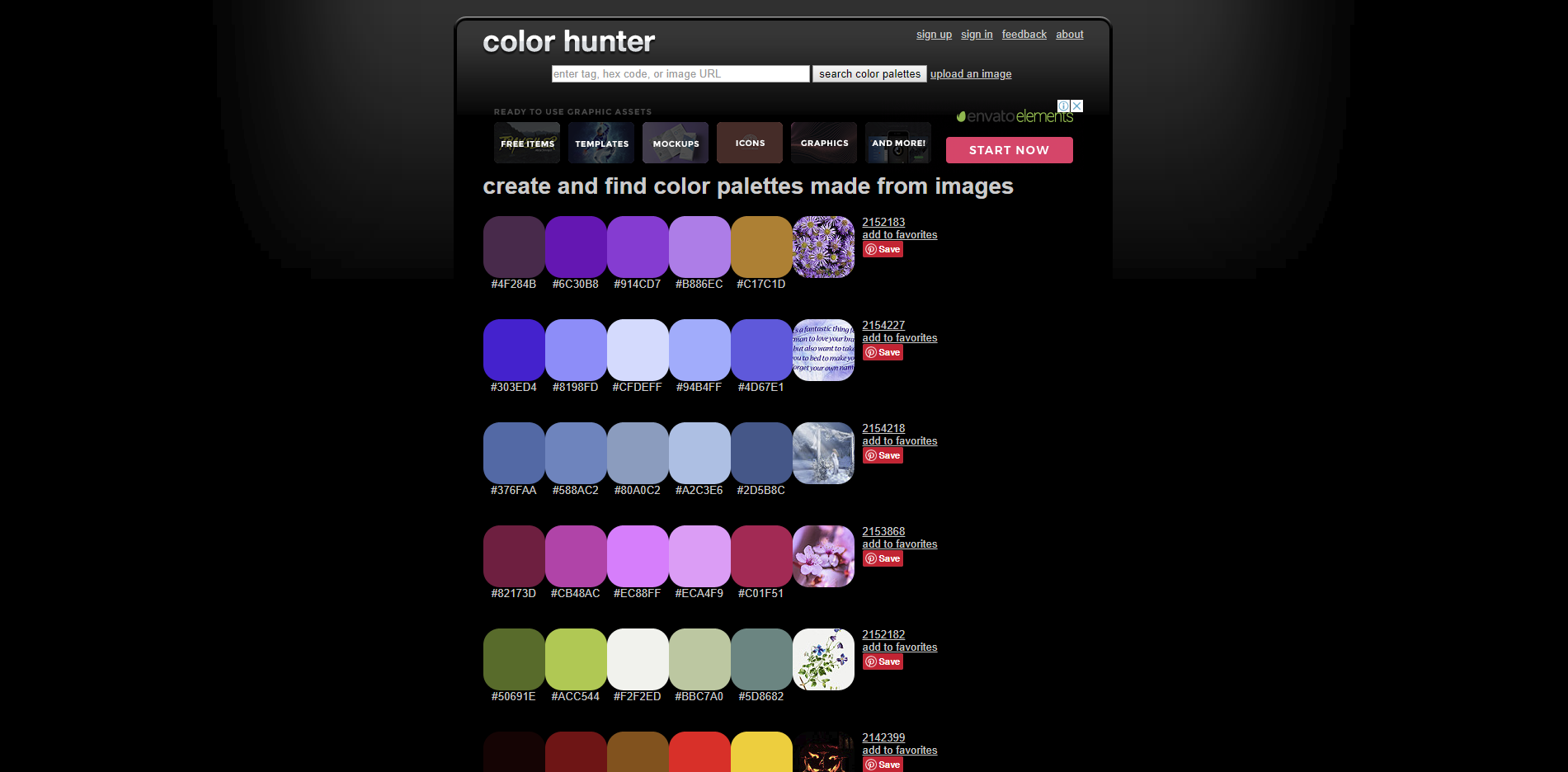 Free colours suggestions tool - Colour Hunter