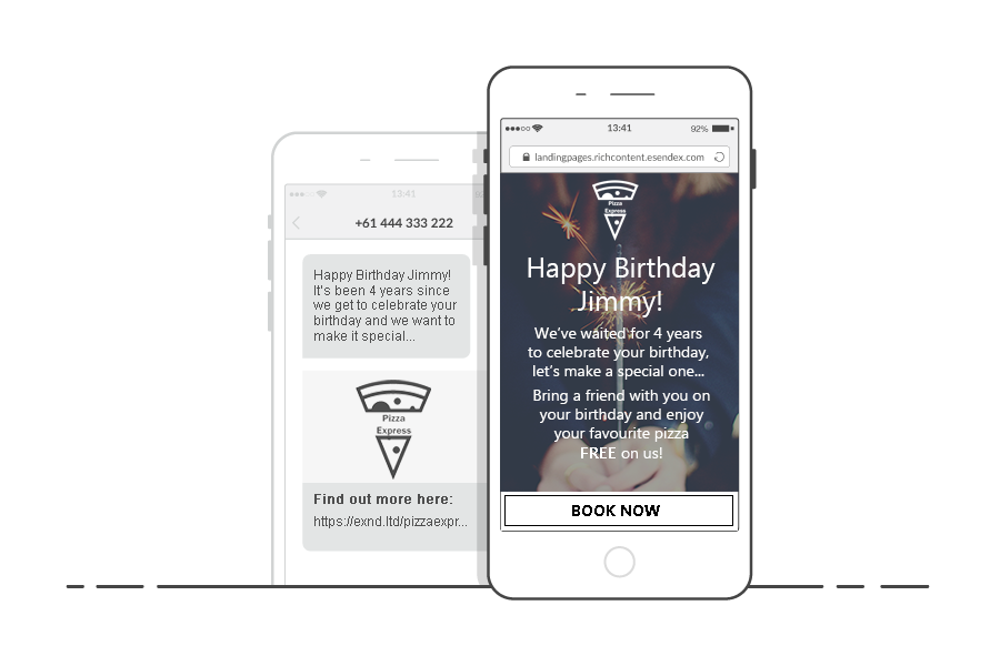 Two smart phones one with an SMS another with the SMS Landing Page with happy birthday message