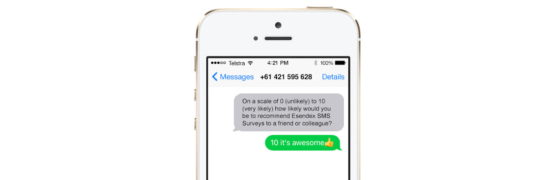 An example of SMS surveys response with emoji