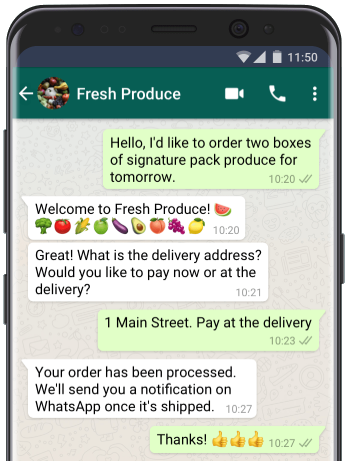 WhatsApp for business chat