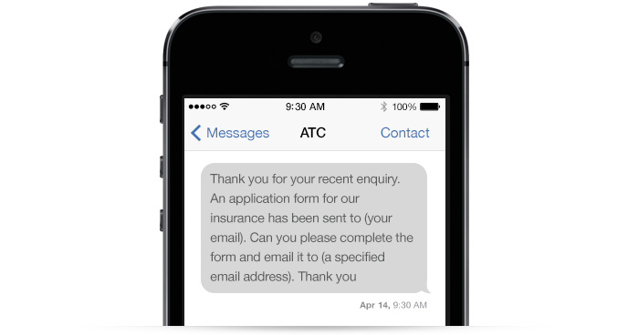 An example SMS message from a retailer to the customer
