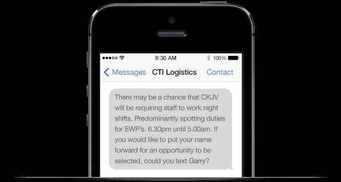 CTI logistics SMS example