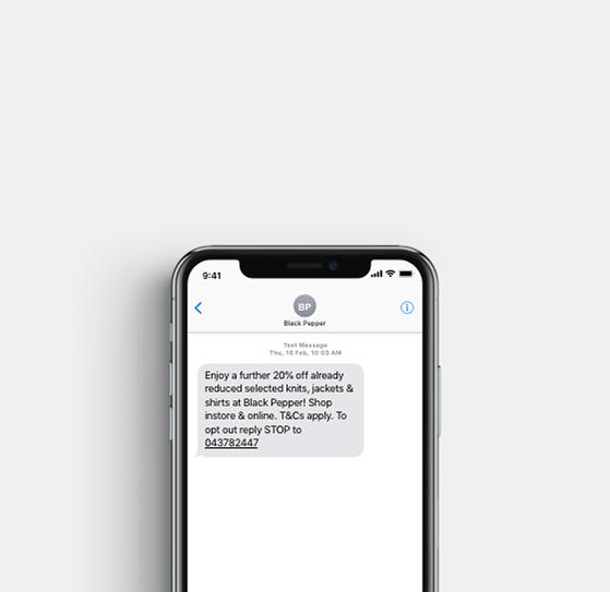 Black Pepper SMS promotion sample