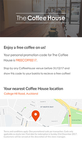coffee house offer on mobile phone using esendex mobile journeys