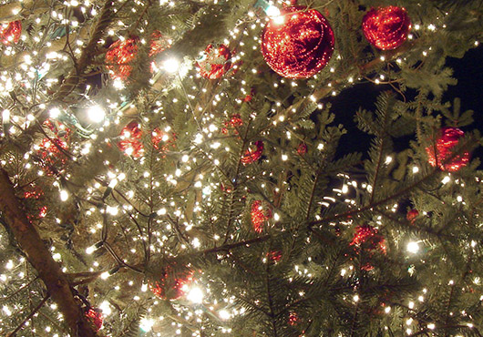 Christmas tree with red baubles
