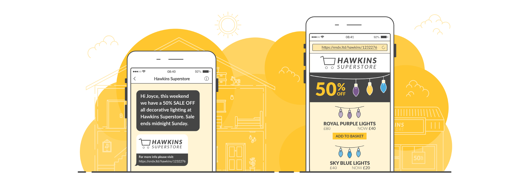 example sms landing page