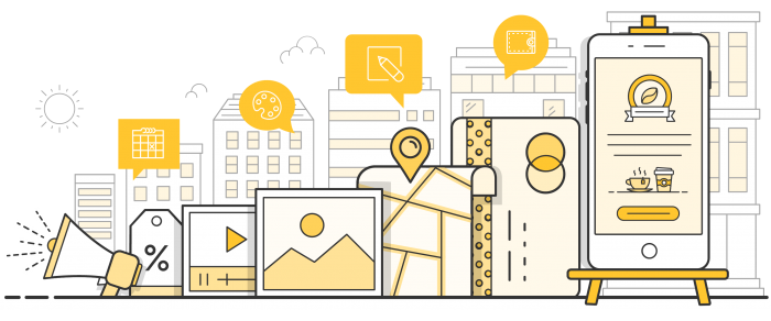 Illustration showing map location, call to action button, payments and web page to showcase Esendex SMS landing page product