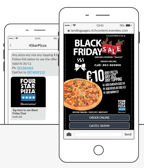 Four Star Pizza Black Friday success with sms landing page
