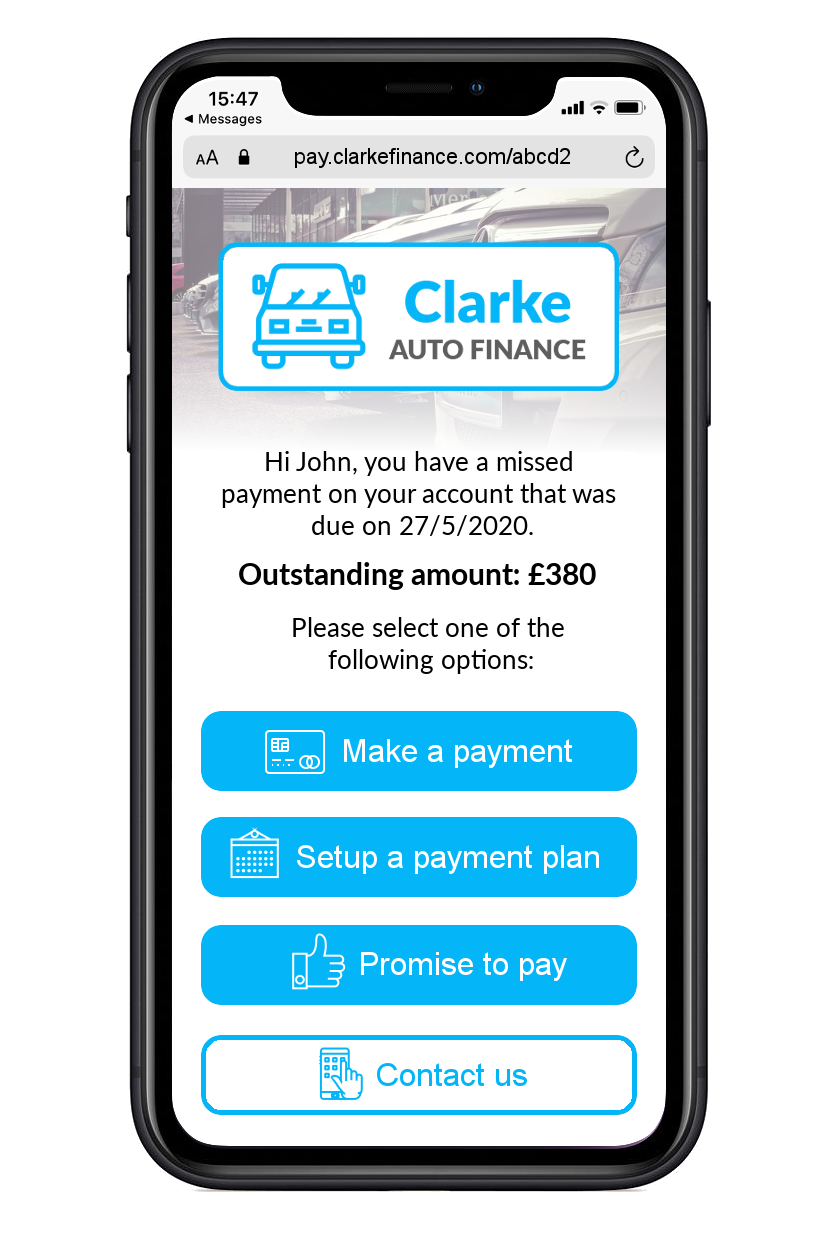 Illustrated example of Esendex's Mobile Collections strategy for autofinance