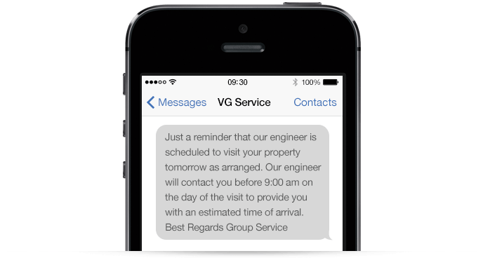 An example of a Vaillant Group text message