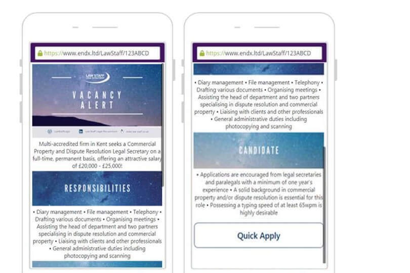 Law staff recruitment example sms landing page