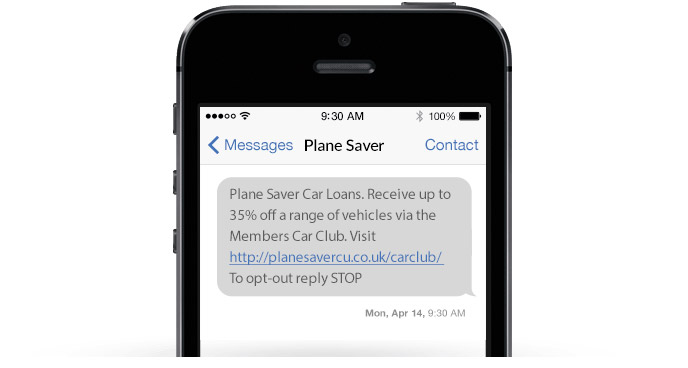 A loan promotion delivered via SMS