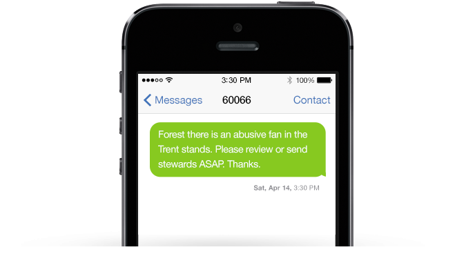 nottingham forest text message on mobile phone