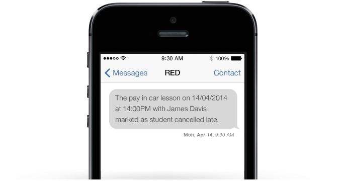 An example of RED Driving School's text message