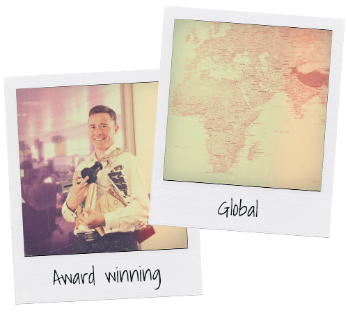 An image of Esendex's awards and the world map