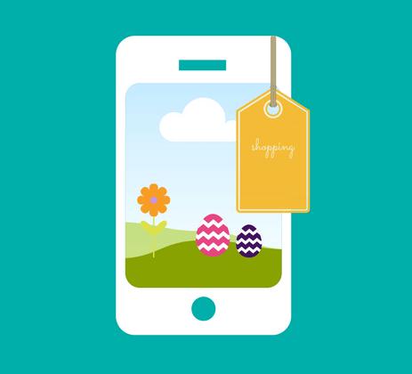 Smartphone mit Osterei und Preisschild