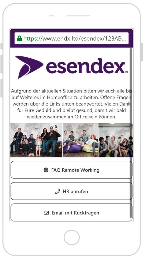 SMS Landing Page Krisenkommunikation