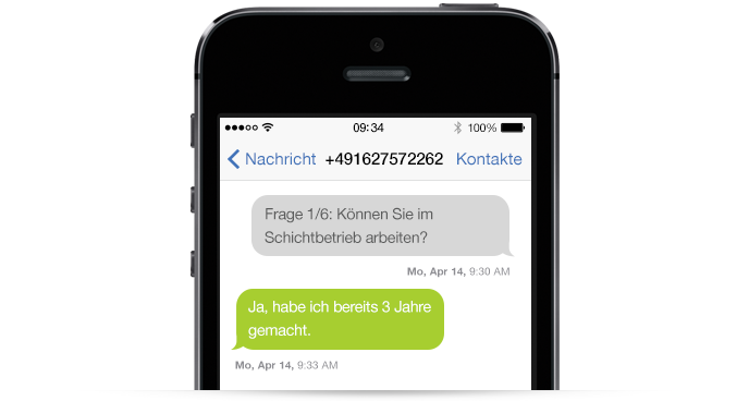 mobileJob SMS Recruitment Frage
