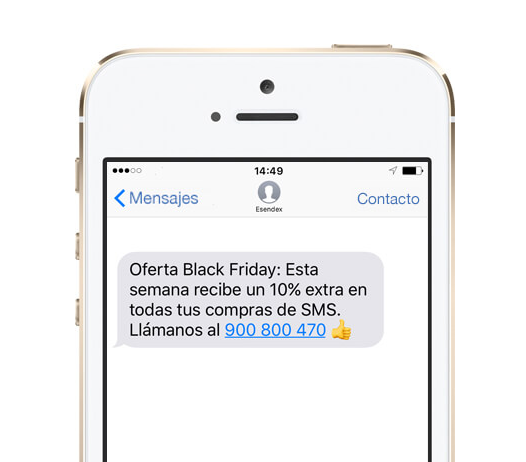 Ejemplo sms black friday