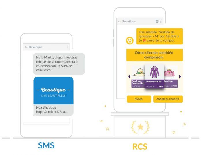 Ejemplo de un SMS y un mensaje RCS