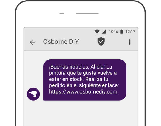 Ejemplo de SMS de reposición de stock