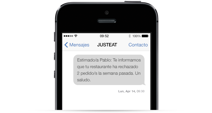 Ejemplo de un SMS Recordatorio de Just Eat