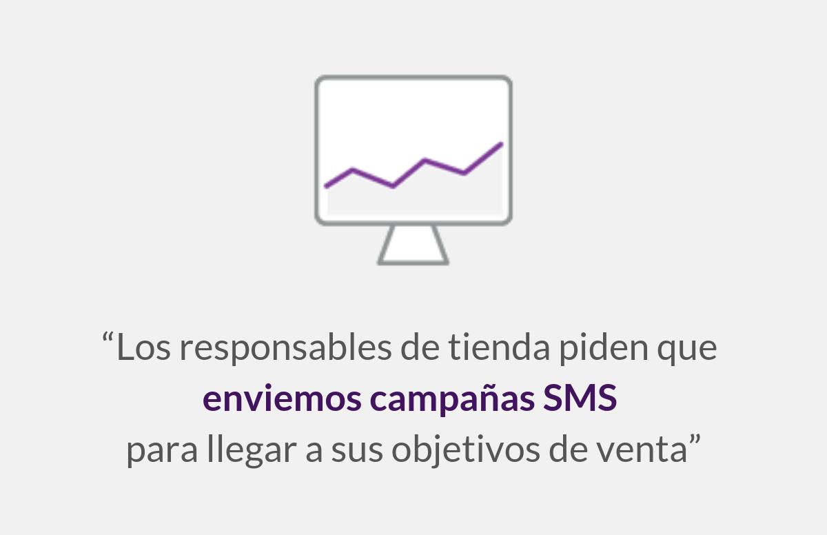 Los responsables de tienda piden que enviemos campañas SMS para llegar a sus objetivos de venta