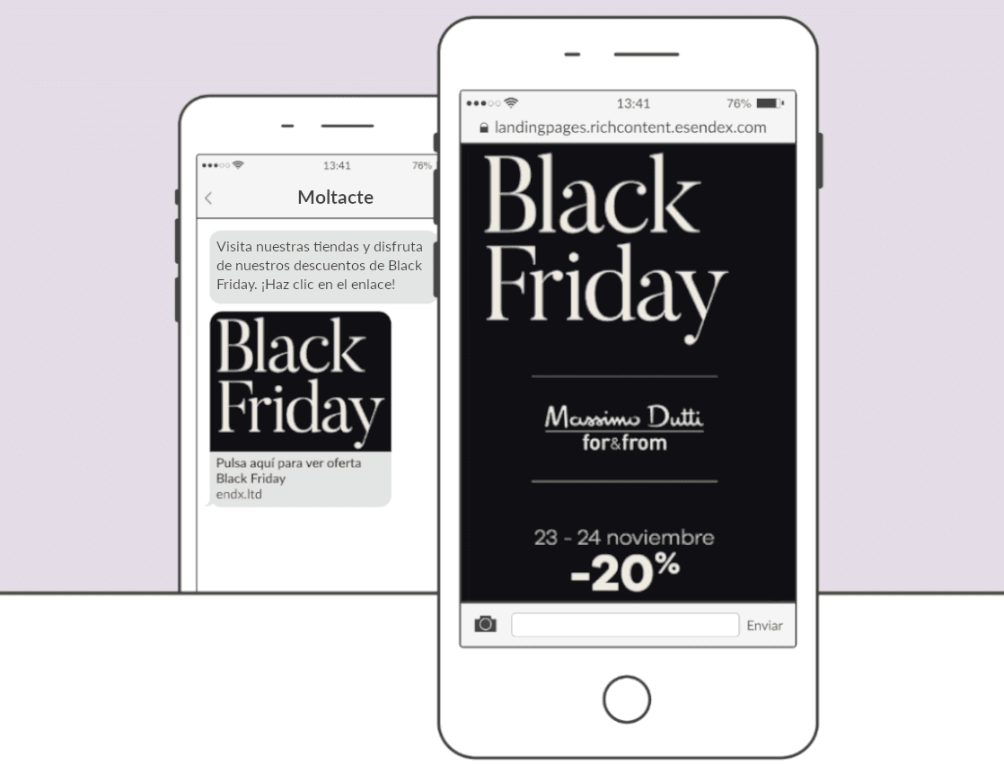 SMS Landing Pages Black Friday Moltacte