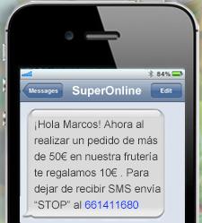 SMS confirmación de compra