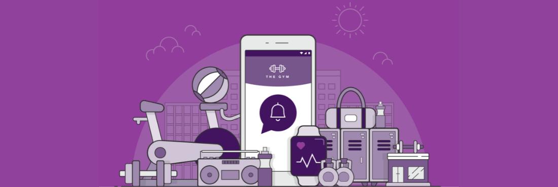 Ilustración de un teléfono rodeado de elementos de gimnasio sobre un fondo lila
