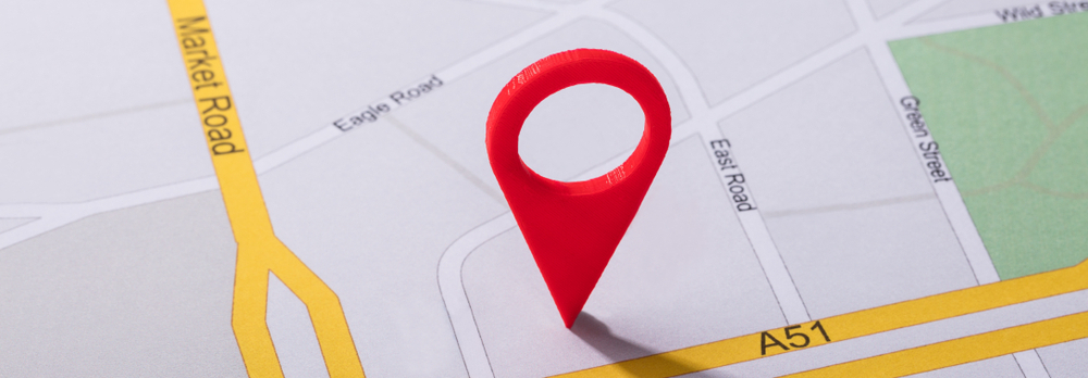 Mapa con etiqueta de ubicación