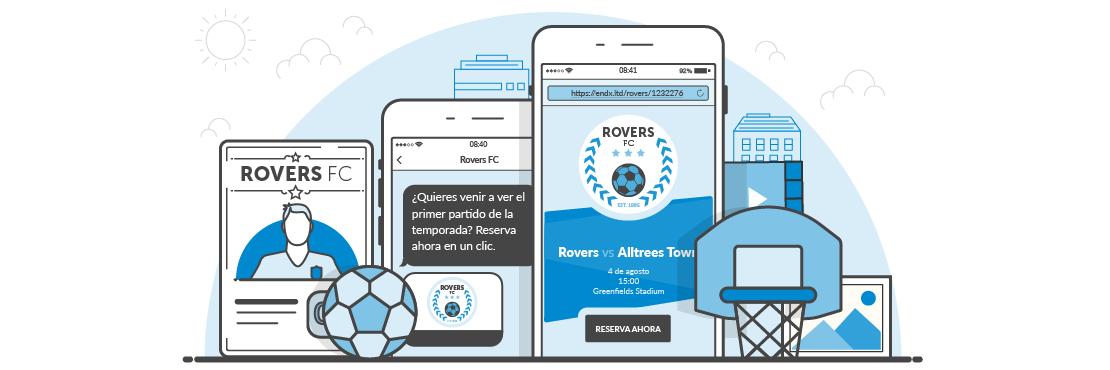 Ejemplos de SMS landing pages para equipos deportivos