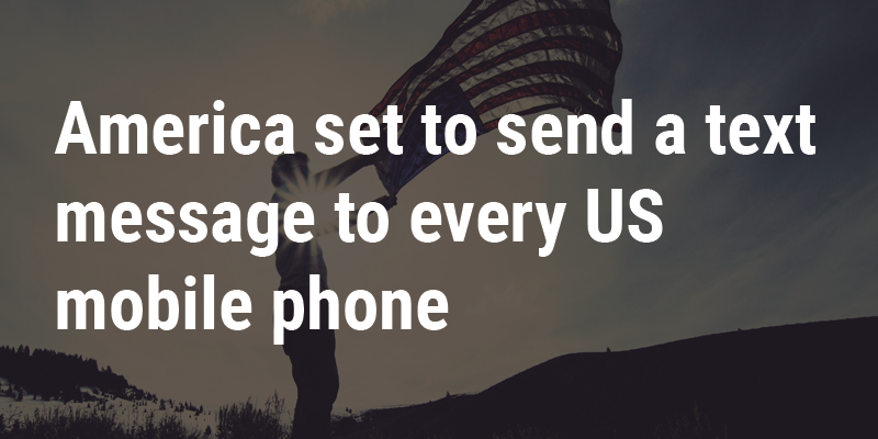 Text in front of man aving an american flag