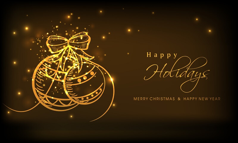 Shiny golden balls and stylish text of Happy Holidays, Merry Christmas and New Year on brown background.