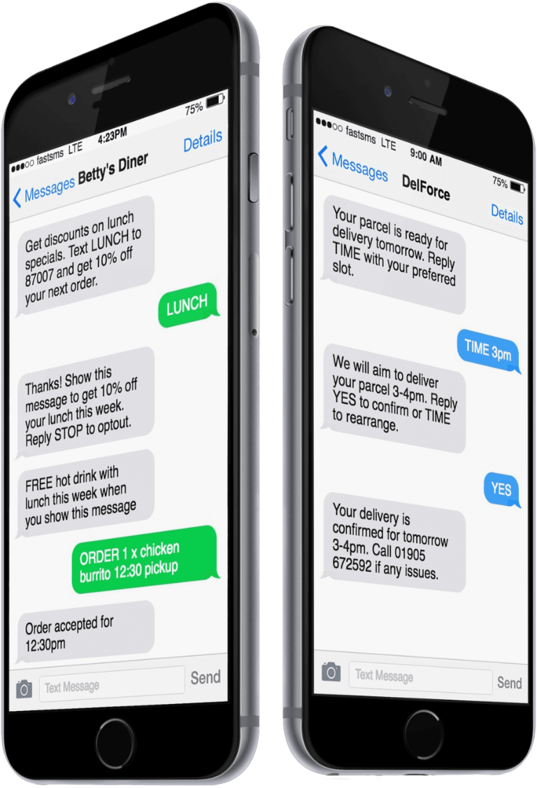 FastSMS main business text message example
