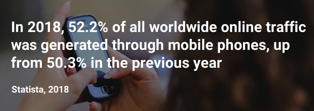 Fastsms statista quote 52 percent online traffic comes from mobile