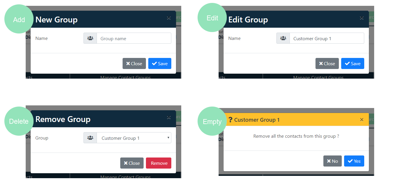 Manage contact groups