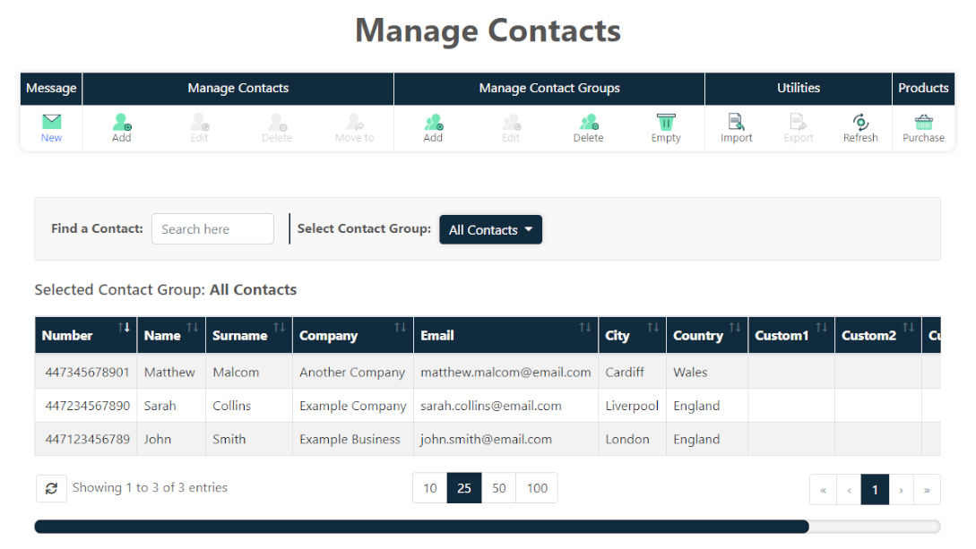 Manage contacts overview