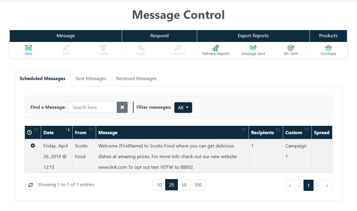 Message control overview