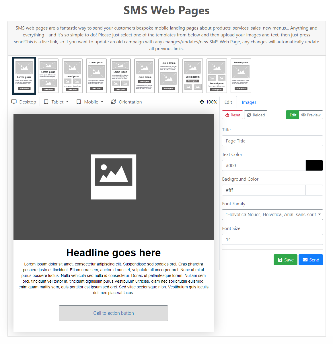 SMS Web Pages - overview
