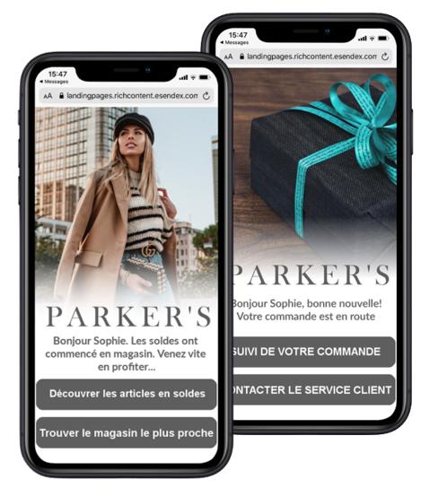 SMS landing page en magasin