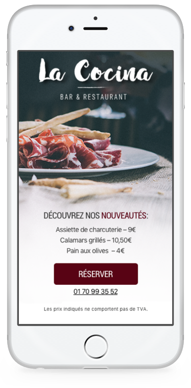 Exemple offre restaurant landing page mobile