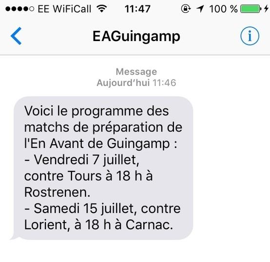 Envoi SMS abonnés foot