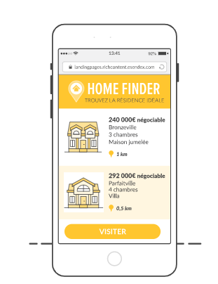sms landing page et immobilier