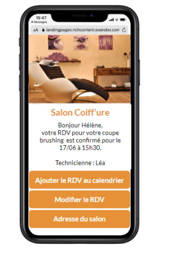 sms landing page coiffure